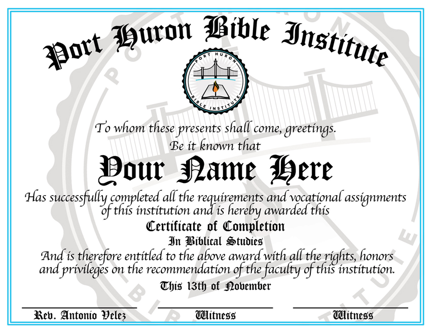 Port Huron Bible Institute certificate