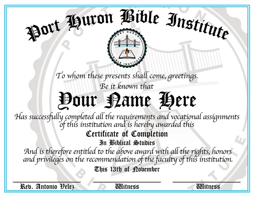 Port Huron Bible Institute certificate